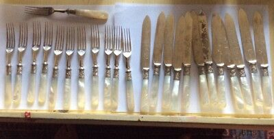 24 Silver Plated  AND MOTHER OF PEARL HANDLED FRUIT KNIVES & FORKS