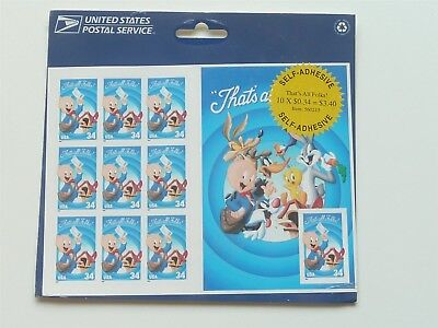 United States 34C That's All Folks Looney Tunes Sheet Of 10 Stamps Mint 2001