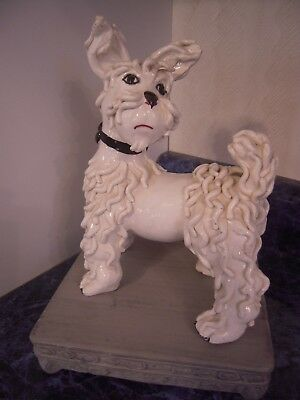 "Vintage 1950s White Porcelain Spaghetti Poodle Figurine 8"" on Gray Ceramic Base"