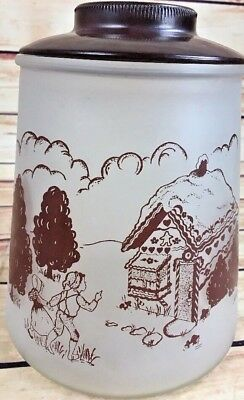 VINTAGE POKEE HANSEL AND GRETEL FROSTED GLASS COOKIE JAR retro fairy tale