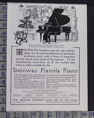 1911 Steinway Aeolian Piano Grand Key Music Dance Sing Vintage Art Ad  Cr38