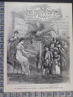 1891 John Brinsmead Pianos London Victorian Music Dance Vintage Art Ad Dk59