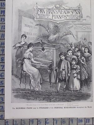 1889 John Brinsmead Pianos London Victorian Music Dance Vintage Art Ad Dk62