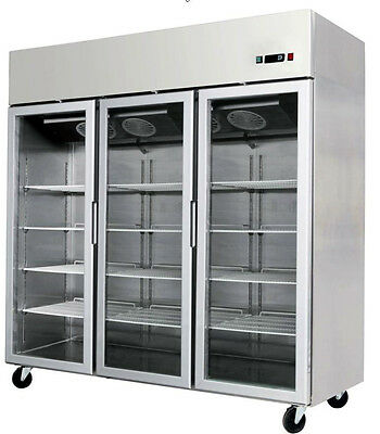 New 2017 Glass Front Triple 3 Door Freezer Merchandiser w/ Stainless Trim LED