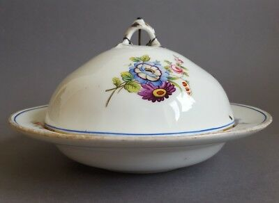 Antique 19th century Round Cheese Butter Dish with Cover Lid Small Tureen  :C6