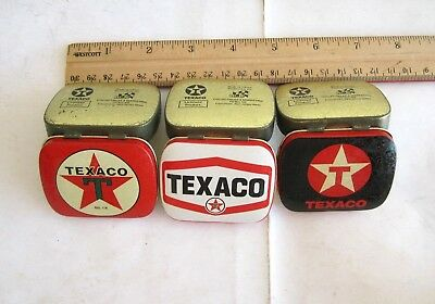 3 TEXACO Tins/Set:New,Empty,Pill/Mint Box Tin by R & B COLLECTIBLES,Rare,Vintage