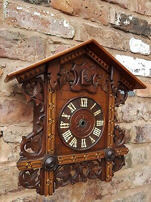 Black Forest Train Station Style Cuckoo Clock Case and Movement for Parts Repair
