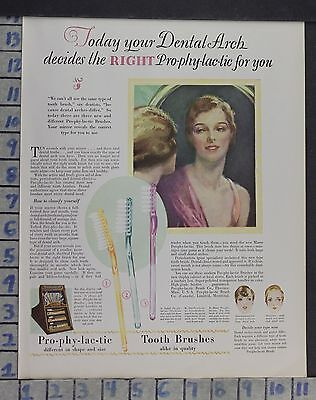 1928 Dentistry Medical Prophylactic Tooth Brush Health Beauty Vintage Ad Dm56