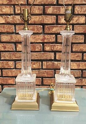 Vintage Pair Of Wildwood Glass Crystal & Brass Table Lamps EUC