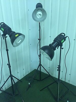 Three Lastolite RayD8 studio lamps. All in working order. On extendable tripods