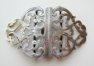 Fine Antique 1898 Victorian English Sterling Silver Chased Dress Buckle Deakin