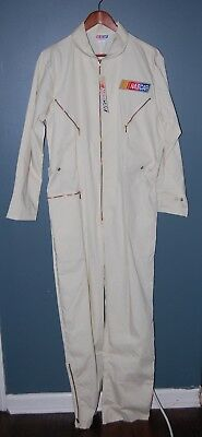 VTG NOS 80s NASCAR WHITE Mechanic Coveralls X LARGE Made in USA Costume