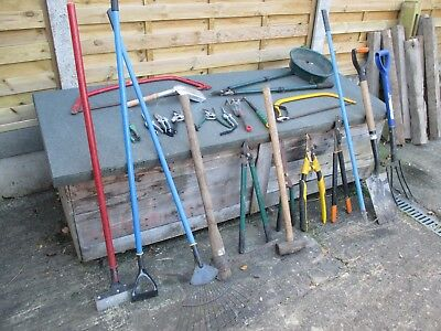 Job lot of Garden Tools + Wheel Barrow