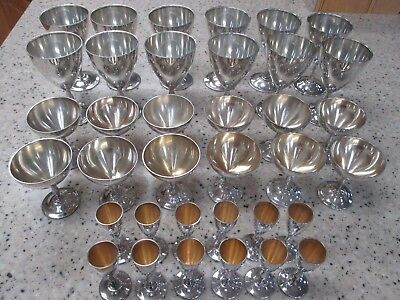 Set of 36 Webster Sterling Silver Goblets 12 Wine, 12 Champagne, 12 Liqueur