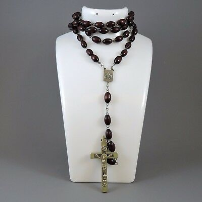 Antique Rosary necklace crucifix - ornate white metal and wooden beads