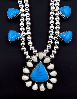Silver and Turquoise Squash Blossom Necklace Native American Navajo Handmade 780