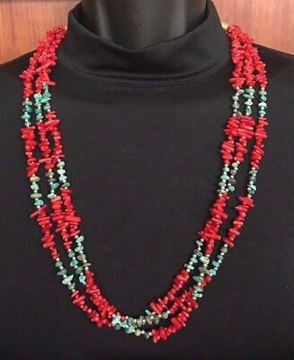 Southwest Silver and Turquoise Necklace Red Coral Triple Strand Handmade *772