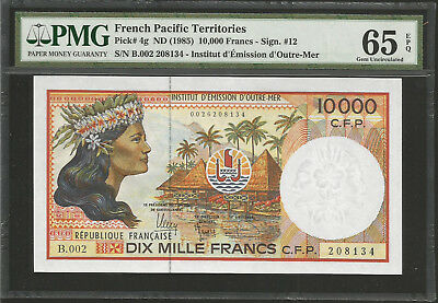 French Pacific Territories, 10000 Francs (1985) Pmg 65 Unc