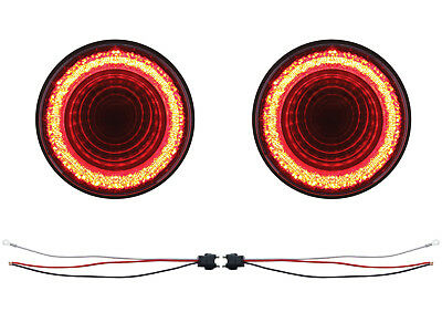 Qty 4-4 Inch Red 7 LED Round Stop Turn Tail Truck Light w//Grommet /& Pigtail