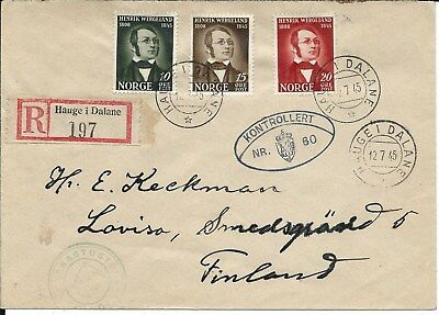 1945 Norway Hauge Finland Loviso Wergeland Double Late Censor as FDC R-Letter