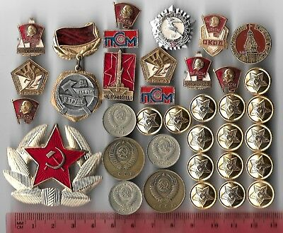 Rare Old CCCP Red Star Army Badge Lenin Civil Pin COLD WAR Coin Collection Lot