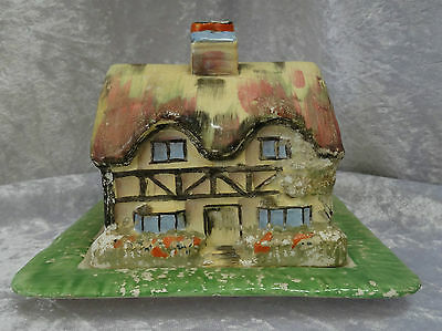 """Rubian Art Pottery """"Olde England"""" Butter / Cheese Dish"""