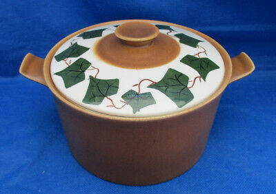 Covered Casserole 1 Qt Oven King Italy Green IVY PATTERN Golden Brown Serving A+