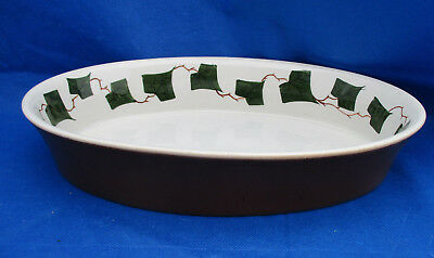 """Oven King Italy 12"""" Oval Baking Dish Casserole Green IVY PATTERN Golden Brown"""