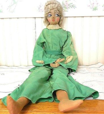 30 Inch Old 1930's French Boudoir Doll Original Clothes Nylon  Stockings Blonde