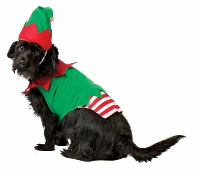 Christmas Elf Outfit Dog Puppy Fancy Dress Coat & Hat Costume Small Medium Large