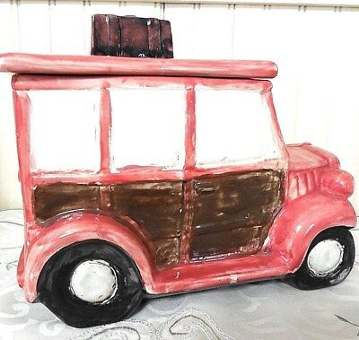 10 Inch Long Woodie Station Wagon Cookie Jar Suitcases on Top Unmarked Vintage