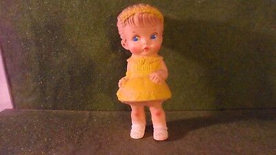 Vintage 1958 Doll Edward Mobley Rubber Squeak Girl in Yellow Dress w/Stuffed Toy