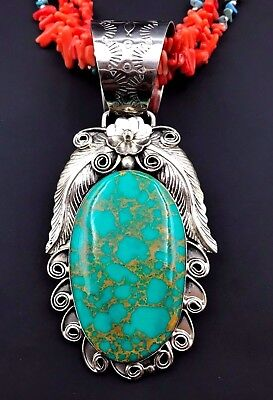 Silver and Turquoise Necklace Native American Navajo PERCY SPENCER Handmade *775