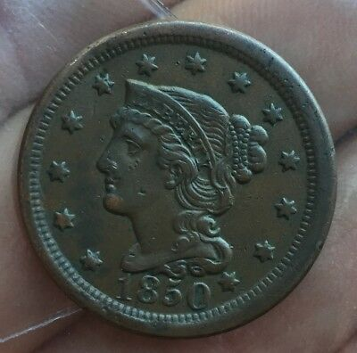 Us Large Cent 1850 Superb Grade Aunc