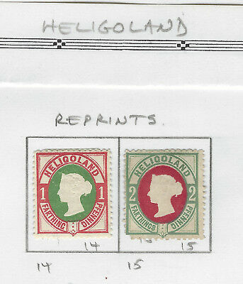 HELIGOLAND...# 14 & 15...1875/95...REPRINTS (I think)...Mint Hinged