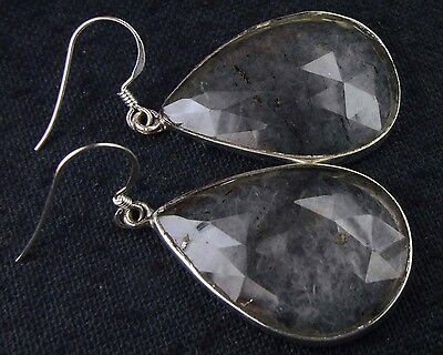 OJ-0089 Black Rutile Natural Gems Faceted Solid 925 Sterling Silver 45Ct Earring