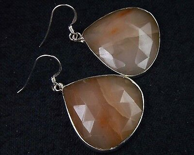 OJ-0099 Moonstone Natural Gemston Faceted Solid 925 Sterling Silver 57Ct Earring