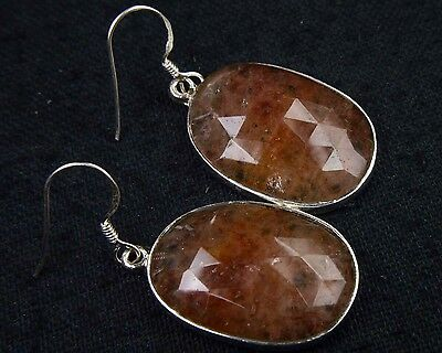 OJ-0097 Copper Rutile Gemstone Faceted Solid 925 Sterling Silver 41Cts Earring $