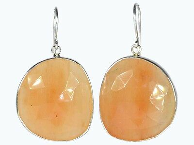 OJ-0050 Natural Moonstone Gems Faceted Solid 925 Sterling Silver 69Cts Earring