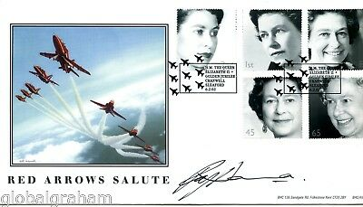2002 Golden Jubilee Great Britain Bhc Official Fdc Signed Red Arrows Ray Hanna