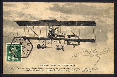 CPA AVIATION - Meeting REIMS 1909  - Roger SOMMER sur biplan FARMAN