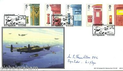 2002 Post Boxes  Great Britain Bhc Official Fdc Signed Raf Sqn Ldr Hamilton Dfc