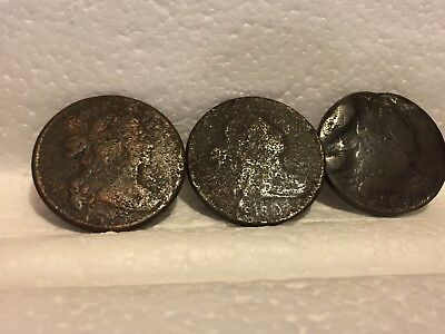 Draped Bust Large Cent PROBLEM LOT (3) No Date/Partial Date L@@K NO RESERVE + FS