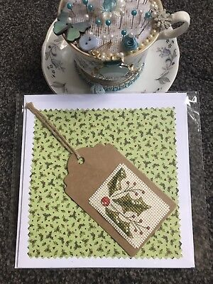 Handmade Cross Stitch Christmas Card Completed