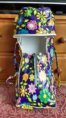 VINTAGE 1970s DOLL'S CARRYCOT PURPLE/FLORALS