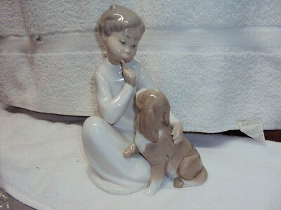 Lladro Seated Boy with his Dog #4522 Vintage Retired