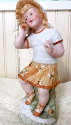 """9 1/2"""" Signed Heubach German Bisque Blonde Child Holding Shell to Ear Piano Baby"""