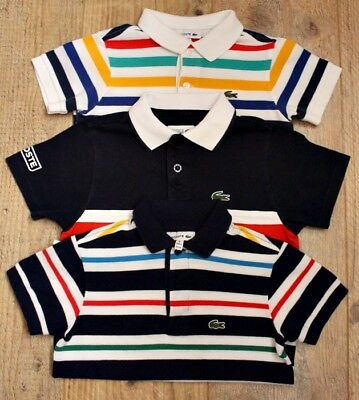 Lacoste Boys Small Bundle X3 Striped Polo Top Shirt Age 3-4 Y / 4 Y