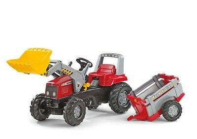 New Rolly Toys Pedal Tractor Junior Tractor with Loader and Trailer Age 3+
