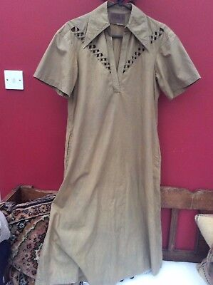 Ossie Clarke For Radley. Vintage Dress 19070's Cotton- Peasant Smock Style